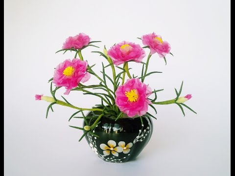 How To Make Moss Rose Flower From Tissue Paper -  Craft Tutotrial
