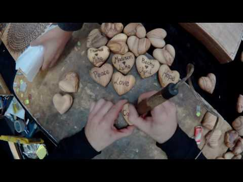 Engraved Olive Wood Hearts