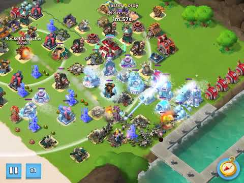 Boom Beach Global #3 player (7 Boosted Ice) Taken out by Just 3 OFFENSE!