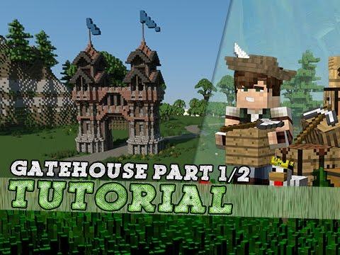 Minecraft Tutorial: Large Medieval Gatehouse! Part 1/2