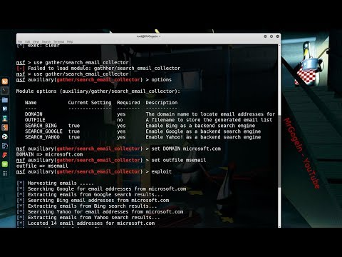 E-Mail suche mit Metasploit   Kali Linux