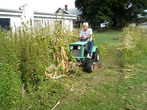 Deutz Allis Garden Tractor - Mows down corn stalks & weeds