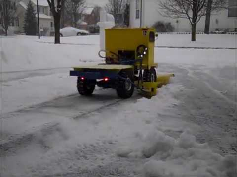 Snow plow truck with wing