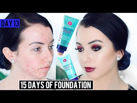 DERMACOL ACNECOVER FOUNDATION Acne/Fair Skin {First Impression Review & Demo!} 15 DAYS OF FOUNDATION