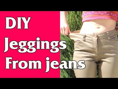 DIY Jeggings from Jeans or How to downsize jeans in waist