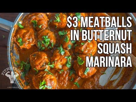 $3 Italian Meatballs with Butternut Squash Marinara / Albóndigas con Marinara de Calabaza