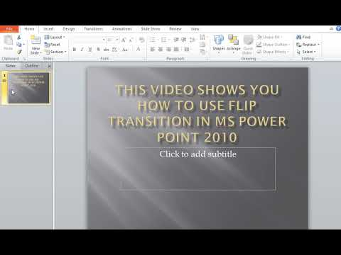 How to use Flip Transitions in MS Power Point
