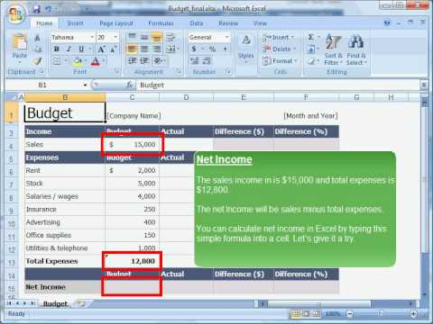BSBITU304A Section 2: Creating a budget in MS Excel 2007