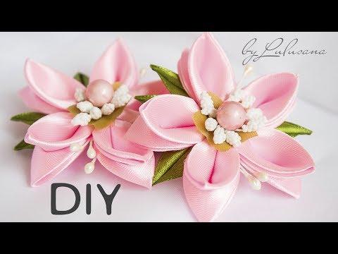 DIY: Красивые детские заколки - цветы своими руками! Канзаши.