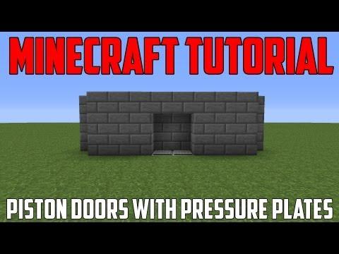 Minecraft Tutorial - Working Piston Doors with Pressure Plates!