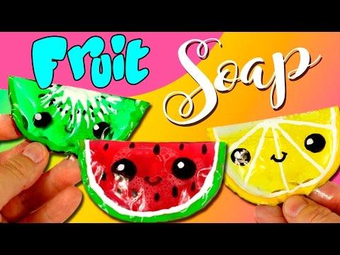 FRUIT SOAP * DIY Watermelon, Kiwi, Pomegranate and Lemon SOAP