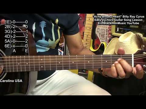 Easy 2 Guitar Chord Song Lesson - ACHY BREAKY HEART Billy Ray Cyrus EricBlackmonGuitar HQ
