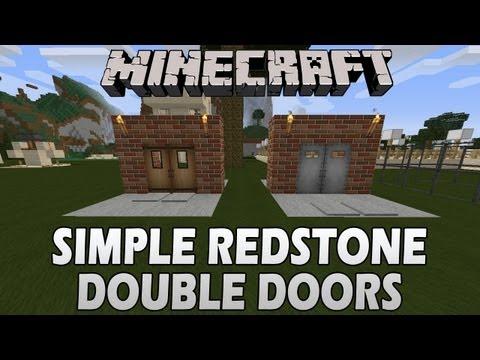 Minecraft Tutorial: Simple Redstone Double Doors