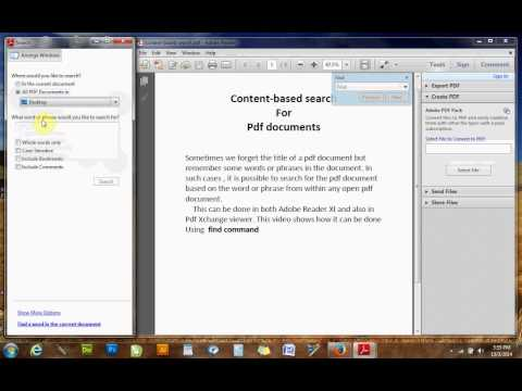 content-based search for pdf docs using Adobe Reader XI