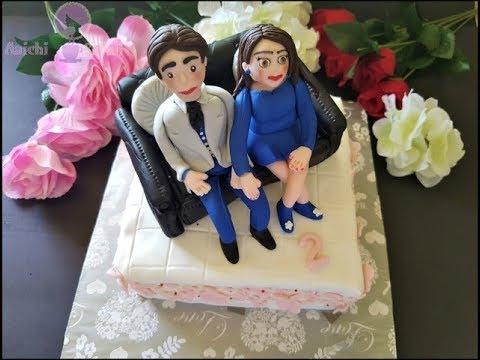 How to Make Edible Fondant Leather Sofa Cake Topper | Anniversary Cake Decoration| Fondant Figurines