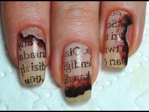 How to: Burned Newspaper nail art / Маникюр Газетный принт на ногтях