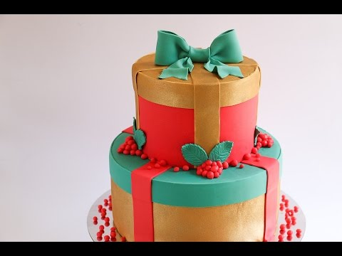 Fondant Christmas Gift Cake Tutorial- Rosie's Dessert Spot