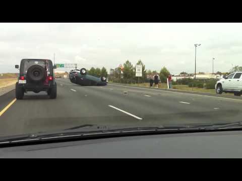 Car flipped on I5 freeway