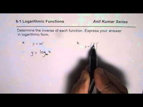 Determine Inverse of Exponential Function Express Answer as Exponent in a Minute