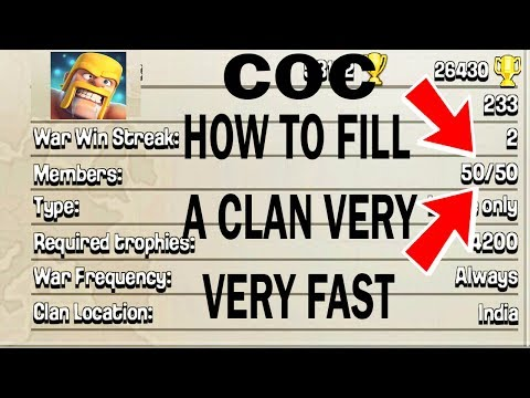 (HINDI) Clash Of Clans FASTEST WAY TO FILL A CLAN