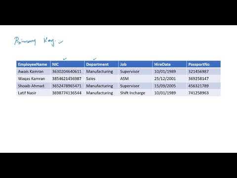 What is Primary Key in database urdu