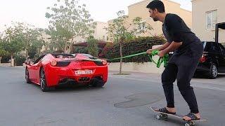 SKATEBOARDING BEHIND A FERRARI 458 !!!