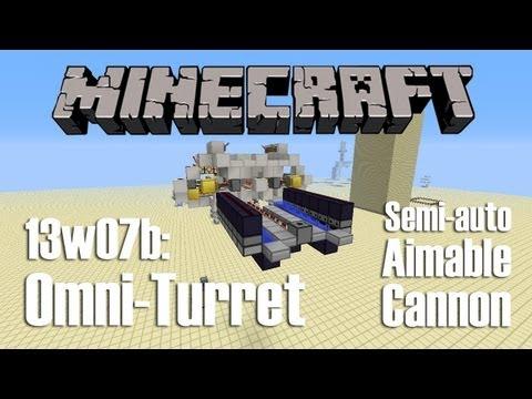 Minecraft 13w07a: Omni-Turret (aimable, semi-automatic TNT cannon)