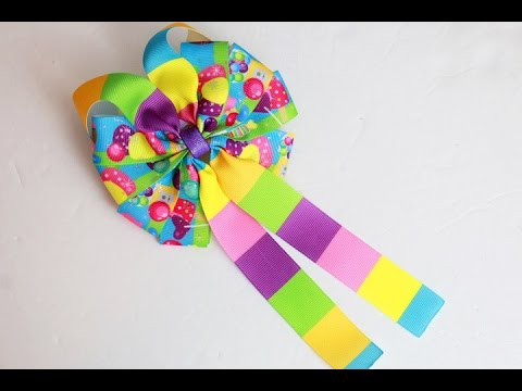 Let's make a bow! Candy Land hairbow tutorial (DIY 10 loop BOW) 🎀🎀 basic bow diy