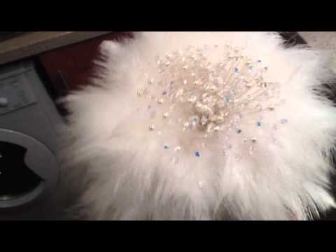 Swarovski crystal/pearl and feather bouquet