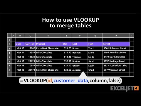 How to use VLOOKUP to merge tables