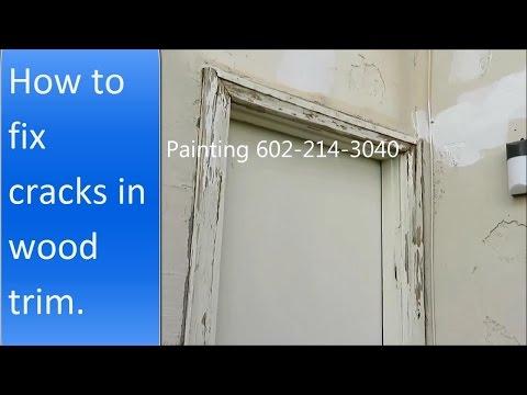 How to repair cracks in wood trim around the door.