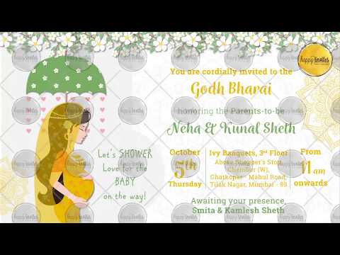 Indian Baby Shower Invitation Party | Godh Bharai Invite | Sreemanthanamu