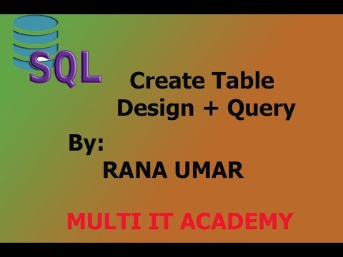 How to craete a table in sql database with design and query in urdu part 2