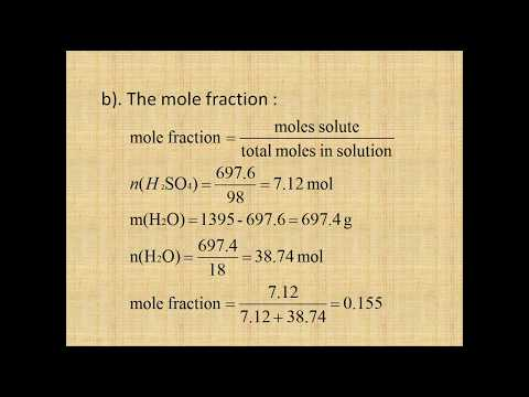 Calculating mass percentage, mole fraction, molarity and molality of sulfuric acid (13.47)