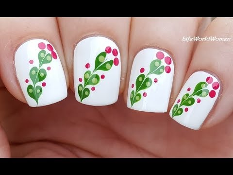 MARBLE FLOWER NAIL ART Using Dotting Tool & Needle