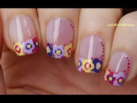FRENCH MANICURE DESIGNS #5 / Colorful Dotting Tool Flowers Nail Tips