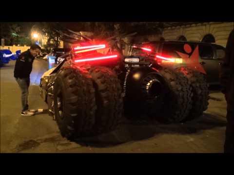 Batmobile Tumbler - close up look, revving and interior