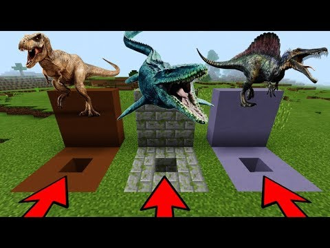 DO NOT CHOOSE THE WRONG HOLE in Minecraft PE (Mosasaurus, T-Rex & Spinosaurus)   MCPE Journalist