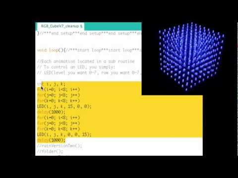 How To RGB 8x8x8 LED CUBE - The CODE!