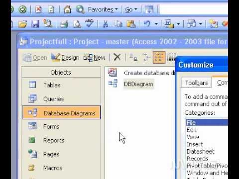 Microsoft Office Access 2003 Adding or removing toolbars and menus
