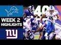 Lions vs. Giants   NFL Week 2 Game Highlights