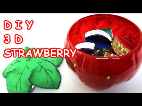 Crafts Ideas: How to Make 3D Strawberry Jewelry Box from Cola Bottle Recycled Bottles Crafts