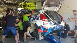 Rally Poland 2019, service of Ford Fiesta Proto Łukasz Kabaciński / Michał Kuśnierz
