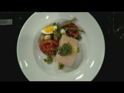 Mass Appeal Poached salmon nicoise with caper vinaigrette