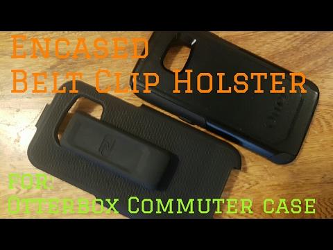 Encased belt clip holster for Otterbox Commuter case.
