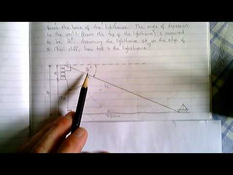 Trigonometry - Angles of Depression (Example 4 Continued)