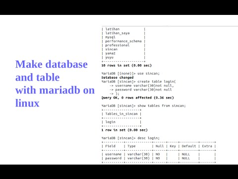 how to make database with mariadb on linux