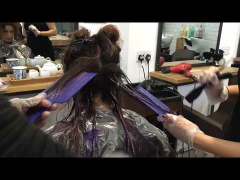 Balayage Ombre On Natural Dark Black Hair Purple colour hair painting Melt at Pure Synergie London