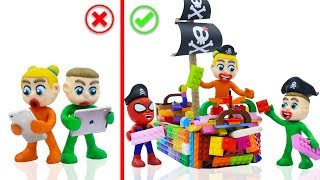 Download SUPERHERO BABY BUILDS LEGO PIRATE SHIP TOYS 💖 Cartoons Play Doh Stop Motion