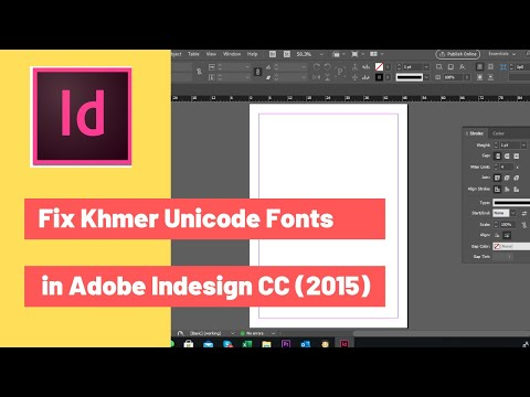 Fix Khmer Unicode Font Support in Adobe Indesign CC (2015)